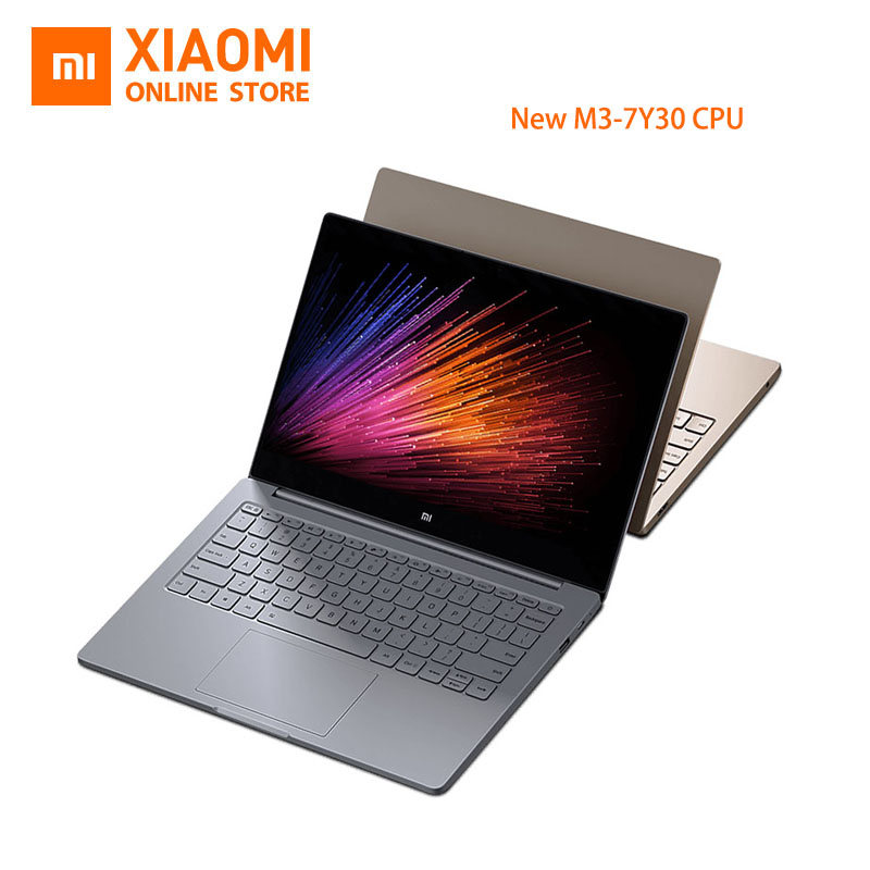 New Xiaomi Mi Laptop Notebook Air English Windows 10 Intel Core M3 7Y30 CPU 4GB DDR3 RAM Intel GPU 12.5 inch display SATA SSD