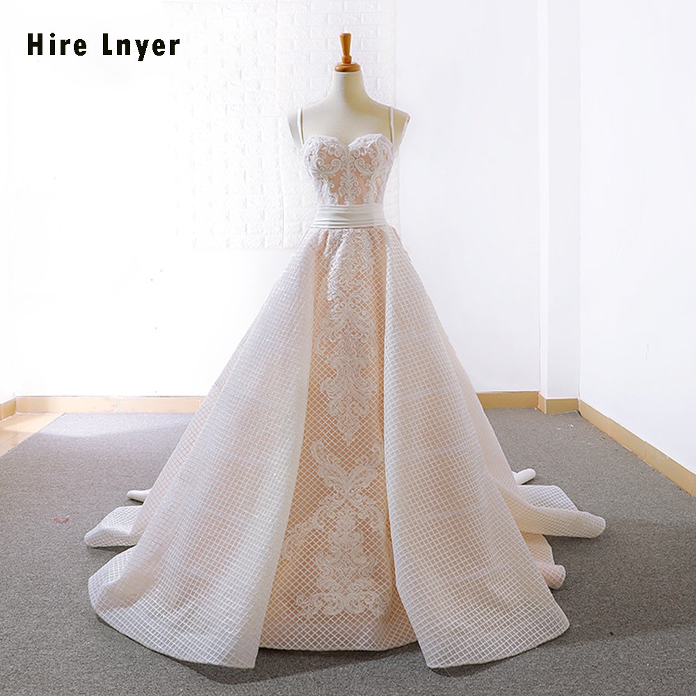 6bd7380ec7 HIRE LNYER 2019 New Arrive Spaghetti Straps Pleat Waist Appliques Lace  Satin Gorgeous Wedding Dresses Plus Size Vestido De Noiva ~ Free Delivery  July 2019