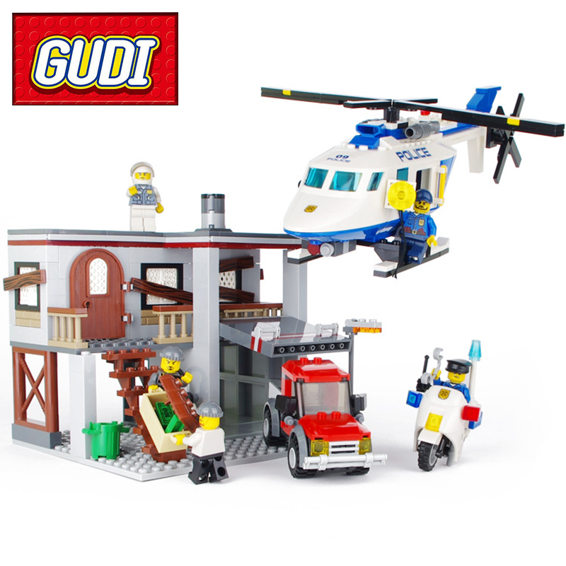 GUDI 9318 465pcs City Police Station Helicopter Building Blocks Kids Educational DIY BrickS Toy for Children Christmas Gift 6727 city street police station car truck building blocks bricks educational toys for children gift christmas legoings 511pcs