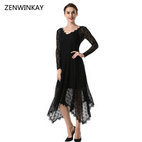 2017 Autumn Elegant New Women Lace Dress Casual Sexy Black Long Sleeve V Neck See Through Irregular Long Dresses Vestido