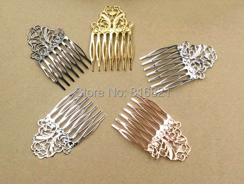 38x65mm Blank Hair Clips Side Combs Pin Filigree Flower 7