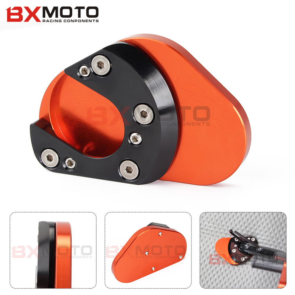 Motorcycle Accessories Aluminum Side Stand Extension Enlarger Support Pad Puck Plate For Ktm Duke 125 200 390 cnc aluminum motorcycle parking side kickstand stand extension base plate parts for ktm duke 125 200 690 390