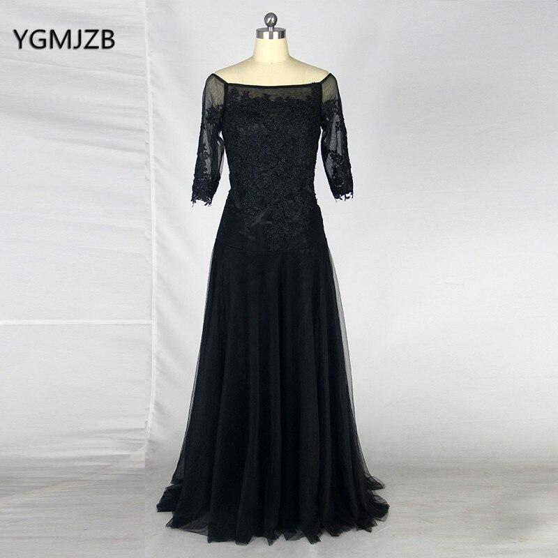 Grande taille mère de la mariée robes 2018 une ligne demi manches dentelle étage longueur longue formelle soirée robe mère robe