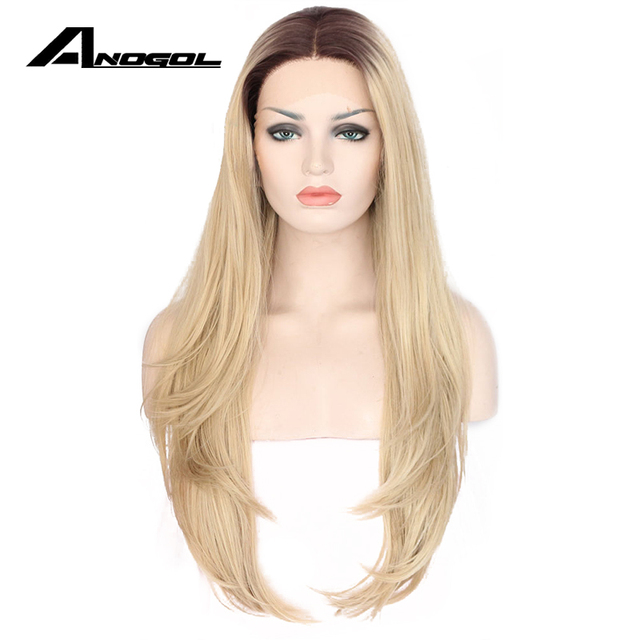 Anogol Natural Middle Part Long Loose Wave Light Blonde Ombre Dark