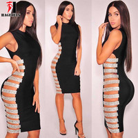 HAGEOFLY Black Coffee Sleeveless Sexy Rayon Bandage Dress Both Sides Hollow Out Crystal Dress Sexy Party Dresses Women 2017 New