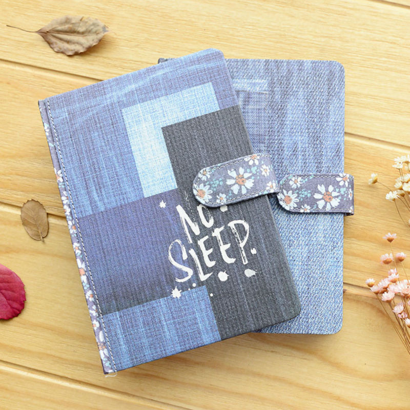 Book Cover White Jeans : Vintage magnetic buckle with this denim cover diary