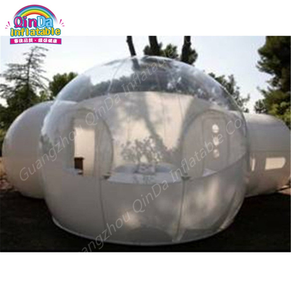 2 Rooms Inflatable Bubble Tent Family use Transparent Camping Tent For outdoor camping  big inflatable lawn tent transparent pvc inflatable bubble tent for hotel use