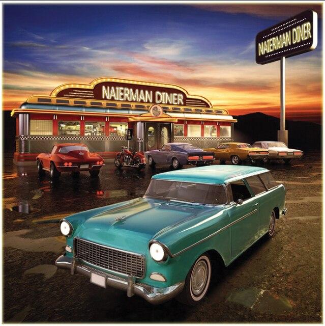 10x10FT Vintage Car Parking Lot Diner Restaurant Sunset