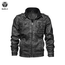 RUELK New brand motorcycle leather font b jacket b font men font b men s b