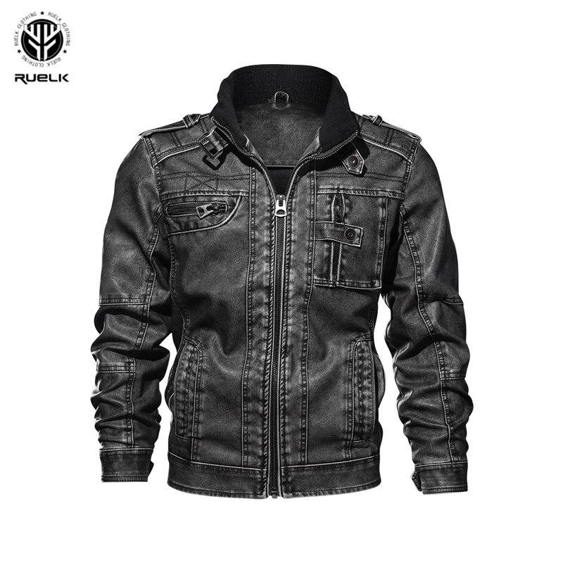 RUELK Nouvelle marque moto veste en cuir hommes veste en cuir pour hommes jaqueta masculina hommes vestes en cuir manteaux