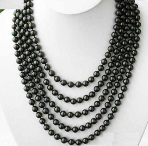 Collier de perles noires de tahiti 5-6mm 100 pouces> breloque en perles bijoux de corps bijoux de charme