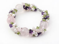 Wholesale Chunky Amethyst Rose Quartz Peridot And FreshWater Pearl Bracelet