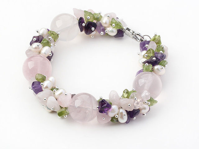 Chunky Amethyst, Rose Quartz, Peridot and FreshWater Pearl Bracelet