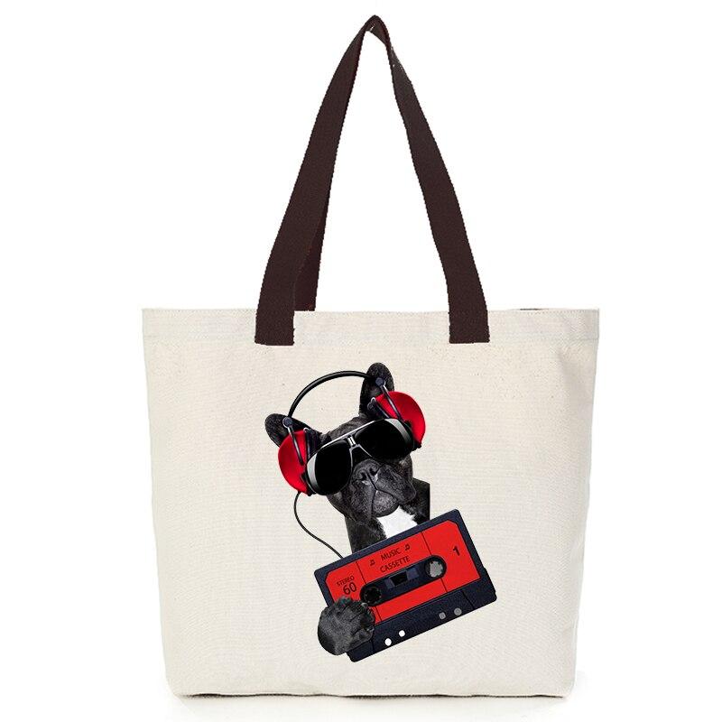 Origina cool dog series canvas custom tote bag customize eco bags diy logo shopping bag with logo  Dachshund Shepherd Dog Poodle (7)
