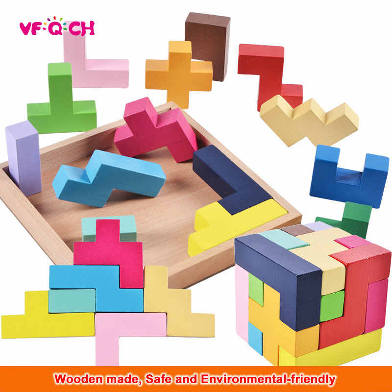 Kids Puzzle Game Wooden Toys Colorful 3D Funny Education