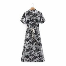 2019 Summer Women Dress Wind Leaves Print Maxi Sashes Short Sleeve Casual Beach Style Dresses Vestidos