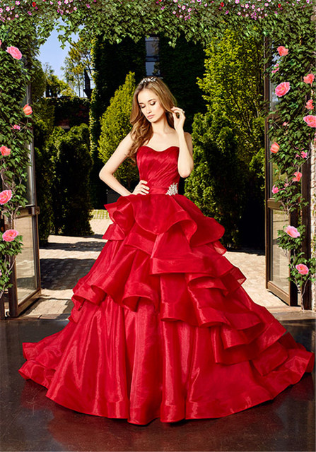Buy strapless ruffles ball gowns romantic for Where to buy red wedding dress