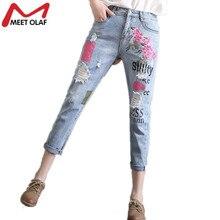 Горячая Рваные Джинсы с вышивкой Женщина vintage отбеленные джинсовые лодыжки длина Брюки манжеты шаровары pantalon femme mujer YL605