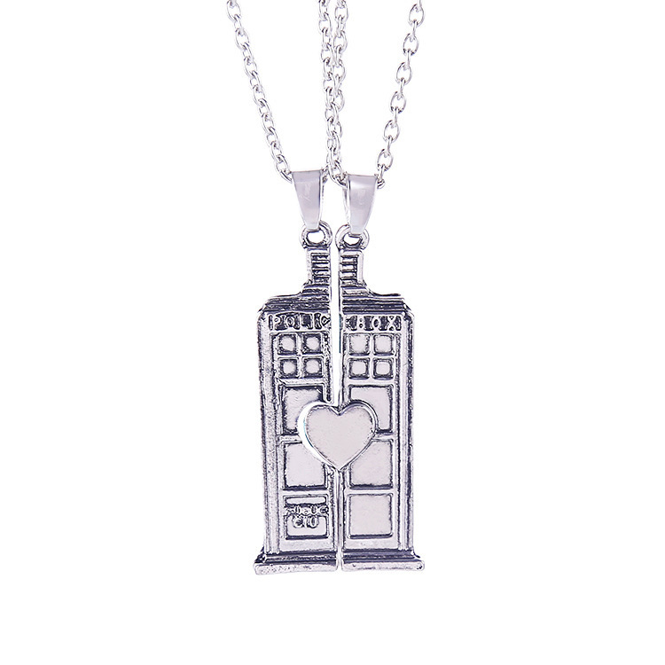 Vintage Doctor Who TARDIS Phone Booth Double Heart Couple Necklace For Lover