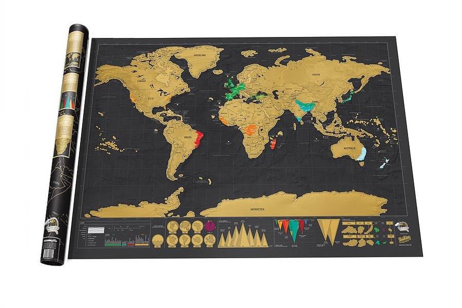 Envío Gratis Deluxe Black Scratch Off Map World Map mejor decoración escuela Oficina papelería suministros