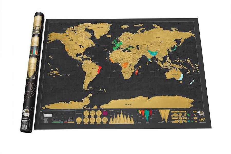 Spedizione gratuita Deluxe Nero Scratch Off Mappa Del Mondo Mappa Best Decorazione di Scuola Forniture Per Ufficio di Cancelleria