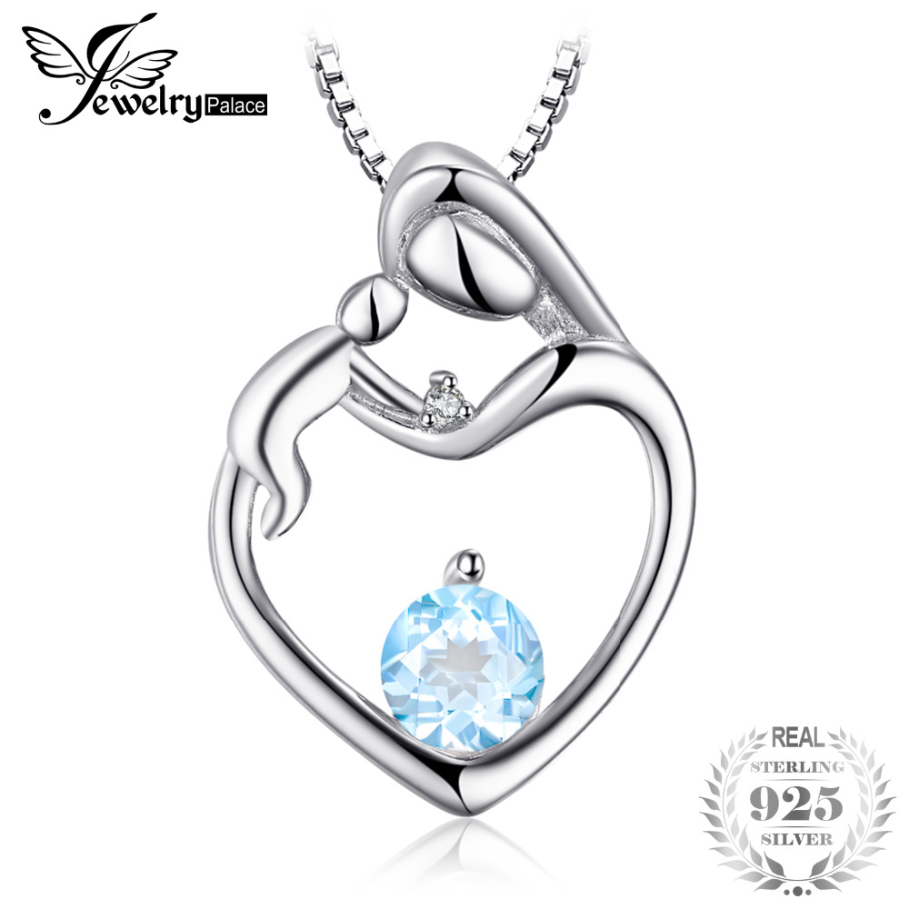 JewelryPalace Heart Mother Child 0.7ct Natural Aquamarines Diamondss Accented Pendant Neckalaces 925 Sterling Silver 45cm Chain
