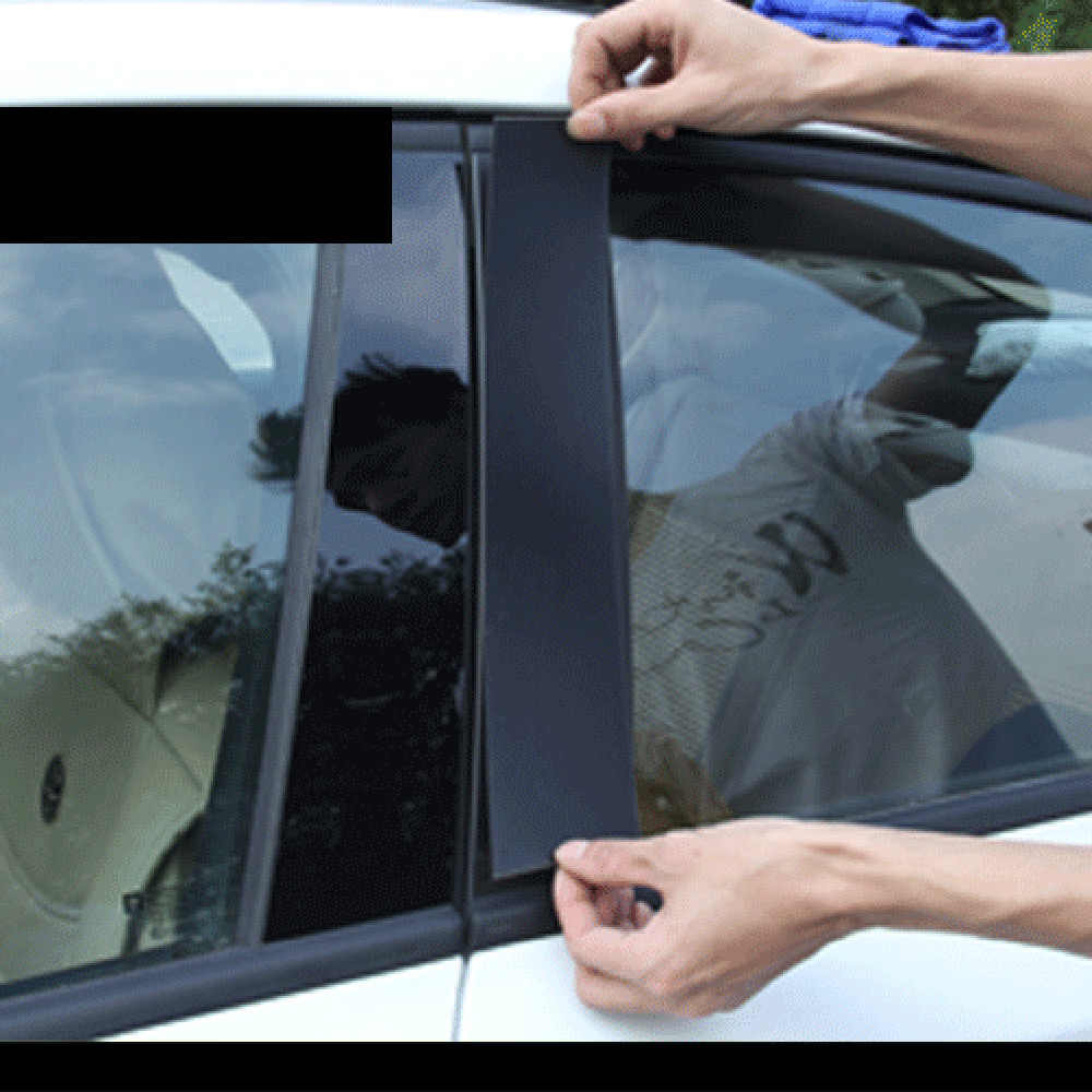 لميتسوبيشي لانسر نافذة ملصق مائي الديكور المضادة للخدش ألياف الكربون سيارة عمود ملصق مرآة سطح أسود زينة