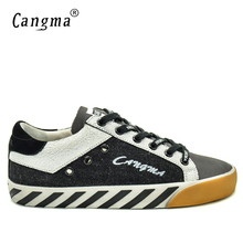 CANGMA Original Canvas Sneakers Men Leather Casual Shoes Spring Autumn Handmade Vintage Black Leisure Shoes Merk Schoenen 34-48