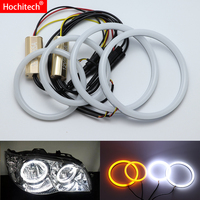 for Fiat Albea 2005 2006 2007 2008 2009 2012 White & Amber Dual color Cotton LED Angel eyes kit halo ring DRL Turn signal light