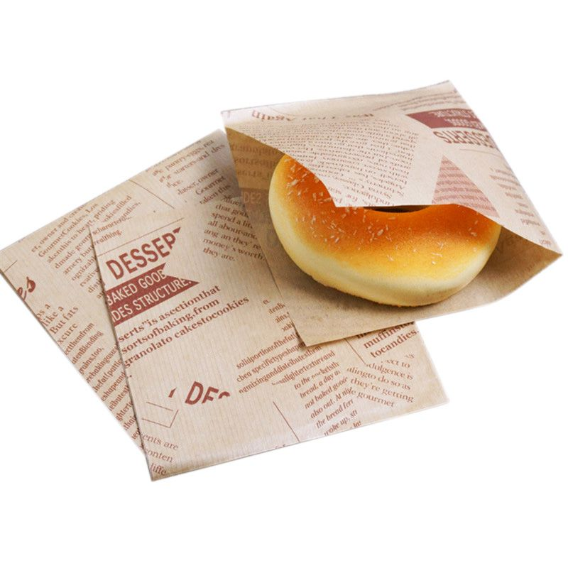 100pcs 12x12cm Sandwich Donut Bread Bag Biscuits Doughnut Paper Bags Oilproof Bread Craft Bakery Food Packing Kraft(China)