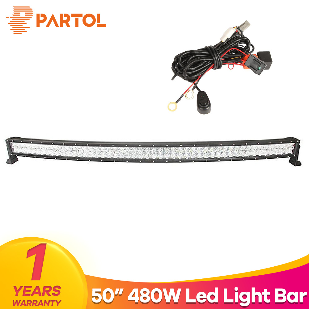 Partol 50 480W 5D LED Light Bar Curved Spot Flood Combo Beam Car Work Light Bars Driving Lamp For 4x4 Offroad 4WD 12V ATV SUV partol 22 200w dual row curved led light bar offroad work light spot flood combo beam 4x4 4wd led bar 12v for jeep suv truck