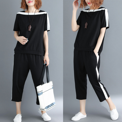014138582c3 Large Big Size Two Piece Set Top And Pants Striped Tracksuit Women Casual  Year-old Female Costume Conjunto Feminino Women Set
