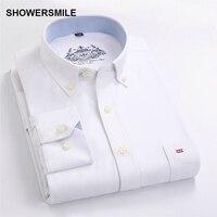 SHOWERSMILE Marchio di Abbigliamento Primavera Autunno Uomini Camicia Con Maniche Lunghe di Modo Coreano Slim Fit Mens Camicia di Vestito Bianco Camiseta