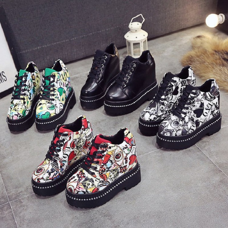 2018 Spring Autumn New Thick Waterproof Platform Graffiti Korean Shallow Mouth Shoes Cross Strap Fashion Women's Shoes 1