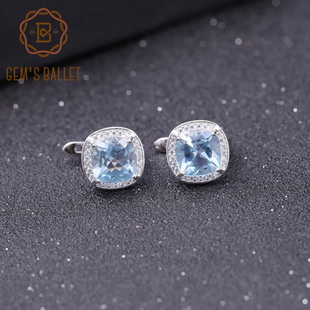 GEM S BALLET 6 63Ct Natural Sky Blue Topaz Gemstone Earrings for Women 925 Sterling Silver