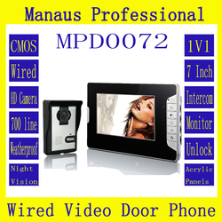 High Quality Professional Smart Home 7 inch Screen Touch Video Intercom Phone,One to One Video Doorphone Kit Configuration D72b