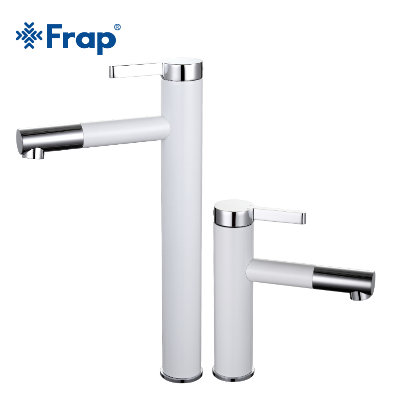 Frap New Arrival White Spray Painting bath sink faucet Bathroom cold and hot tap Crane with Aerator 360 Rotating F1052-14/15Frap New Arrival White Spray Painting bath sink faucet Bathroom cold and hot tap Crane with Aerator 360 Rotating F1052-14/15