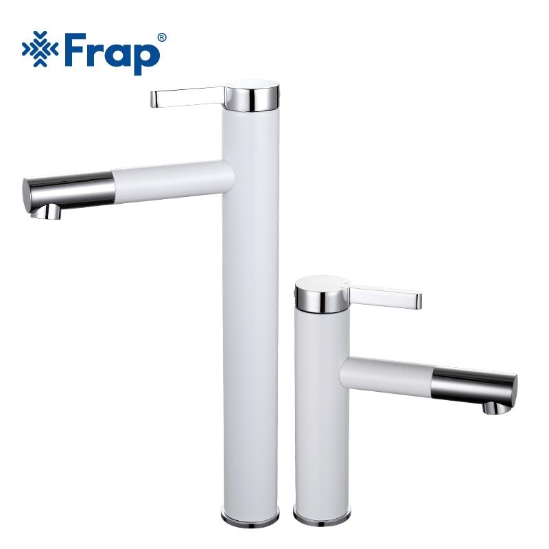 Frap nouveauté blanc pulvérisation peinture bain évier robinet salle de bains froide et chaude robinet grue avec aérateur 360 rotatif F1052-14/15