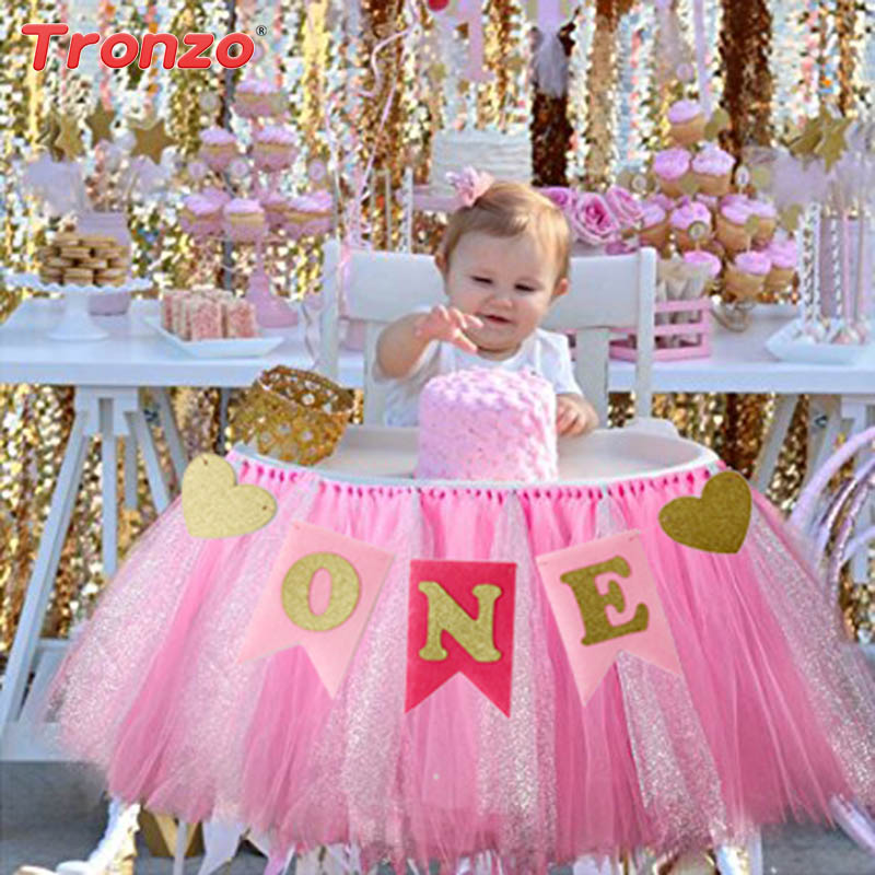 Tronzo 1set Birthday Party Banners Baby Shower Chair Flag Supplies One Year Old Celebrate Hanging Bunting Banner Paper Non-woven