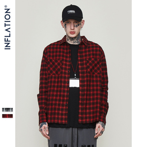 Image 4 - INFLATION Oversized Check Long Sleeve Casual Shirt 2020 Autumn & Winter Fashion Hip Hop Men Plaid Flannel Check Shirt 8713W