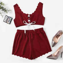Bandage Crop Top & Elastic Waist Shorts Set Solid Summer Tank Sleeveless Set Casual Two Piece Sets two tone sleeveless crop top