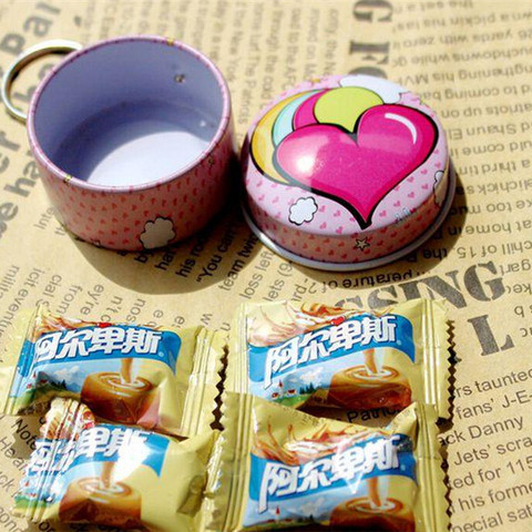 Portable 12 pcs/lot Mini Lovely Round Heart Shape Storage Box with Key Chain,Cute Metal Box for Candy Tea,Kawaii Small Tin Boxes Karachi