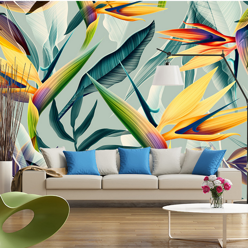 Southeast Asia Tropical Landscape Wallpaper 3D Stereo Pastoral Color Leaves Photo Mural Bedroom Theme Hotel Restaurant Wallpaper