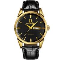 Бизнес Мужские наручные часы водонепроницаемые ontheedge Брендовые мужские часы кварцевые из натуральной кожи повседневные мужские часы