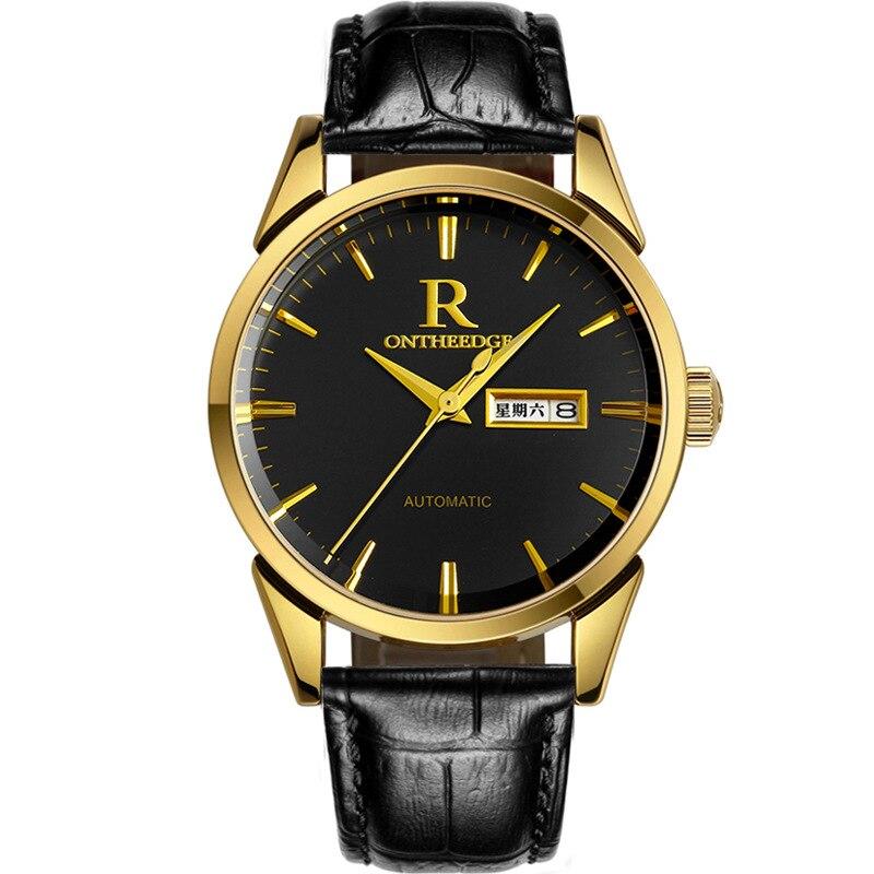 Бизнес Мужские наручные часы водонепроницаемые ontheedge Брендовые мужские часы кварцевые натуральная кожа кварцевые повседневные мужские ча