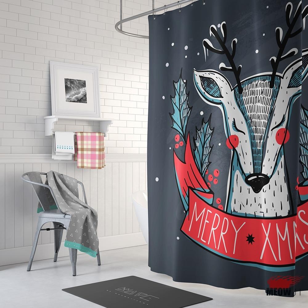 Heißer Weihnachten Rentier Elemente Duschvorhang Gedruckt Stoff ...