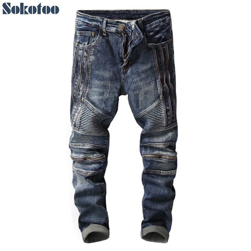Sokotoo Men's zippers slim straight biker jeans for motorcycle Vintage patchwork stretch denim pants aboorun new mens pu patchwork slim fit jeans fashion skull rivet pencil denim pants with zippers for men b052