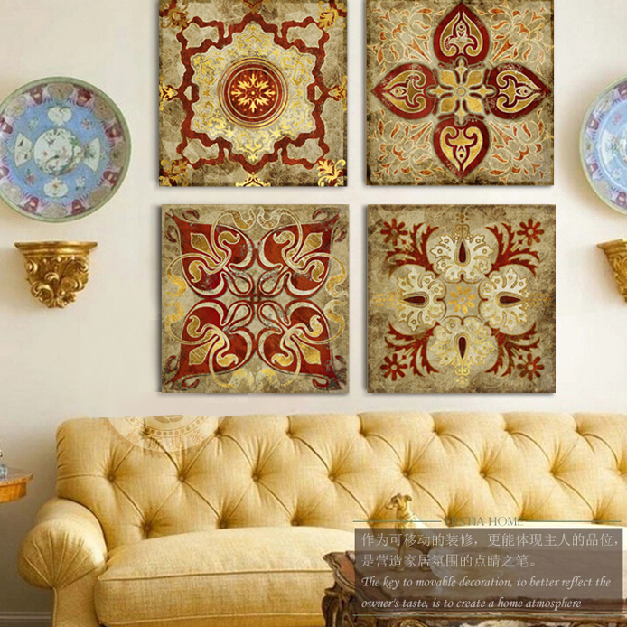4 Panel India Gold Retro Ethnic Patterns Canvas Wall Art Home Decoration Painting Living Room Office