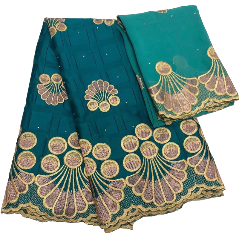 high quality teal green African cotton lace fabric Dubai new design with embroidery 5yards 2yards chiffon
