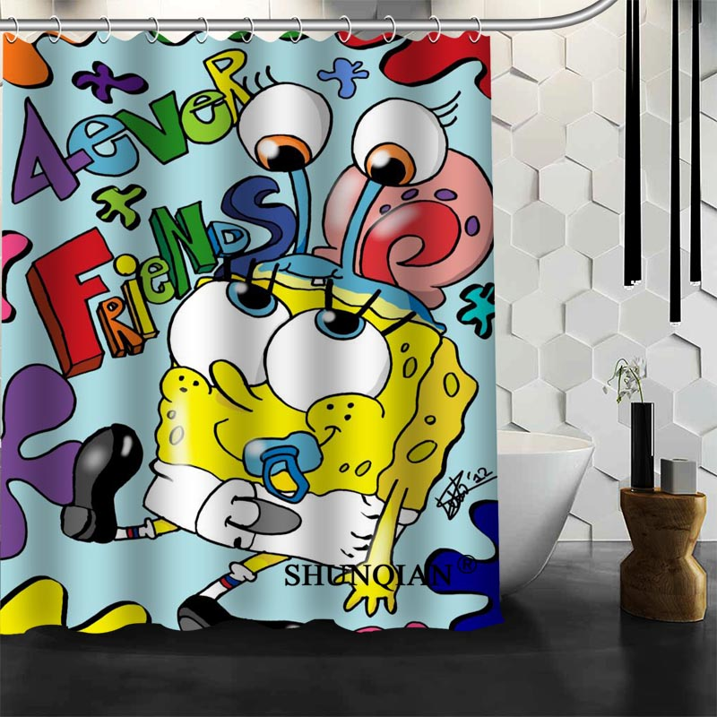 2017 New Spongebob Shower Curtain Christmas Decorations For Home ...